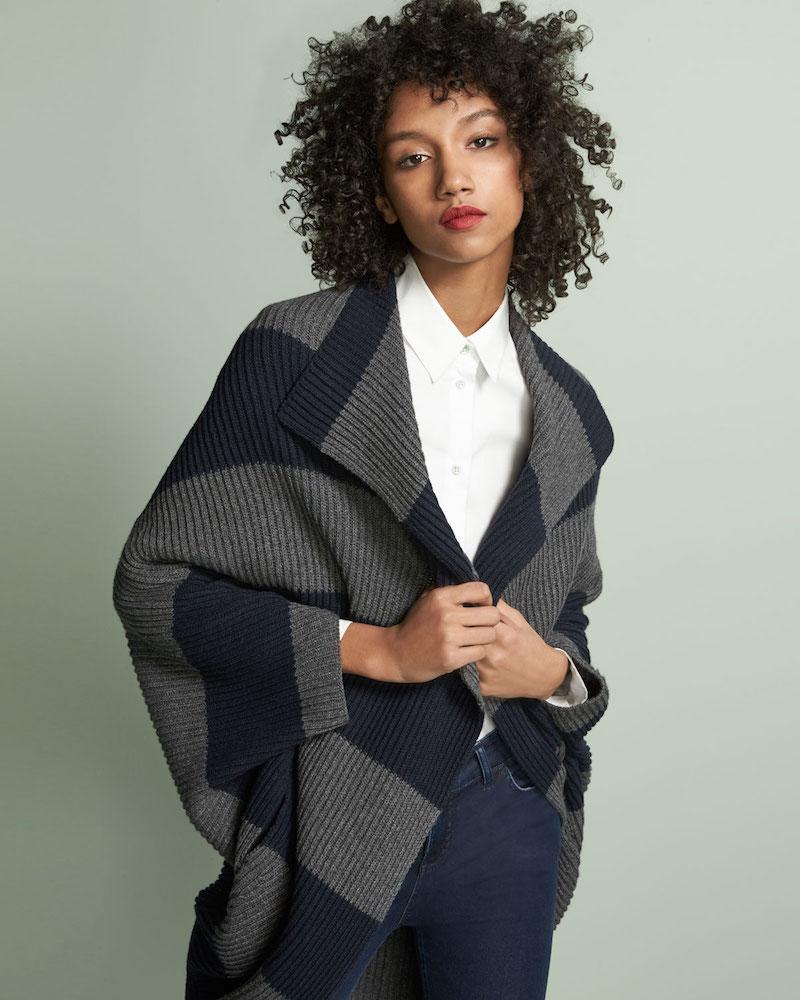 Piazza Sempione Heavy-Rib Striped Coat Sweater