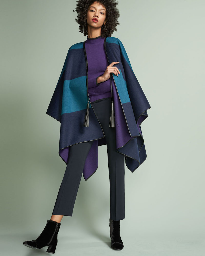Piazza Sempione Reversible Wool Melton Cape with Leather Trim