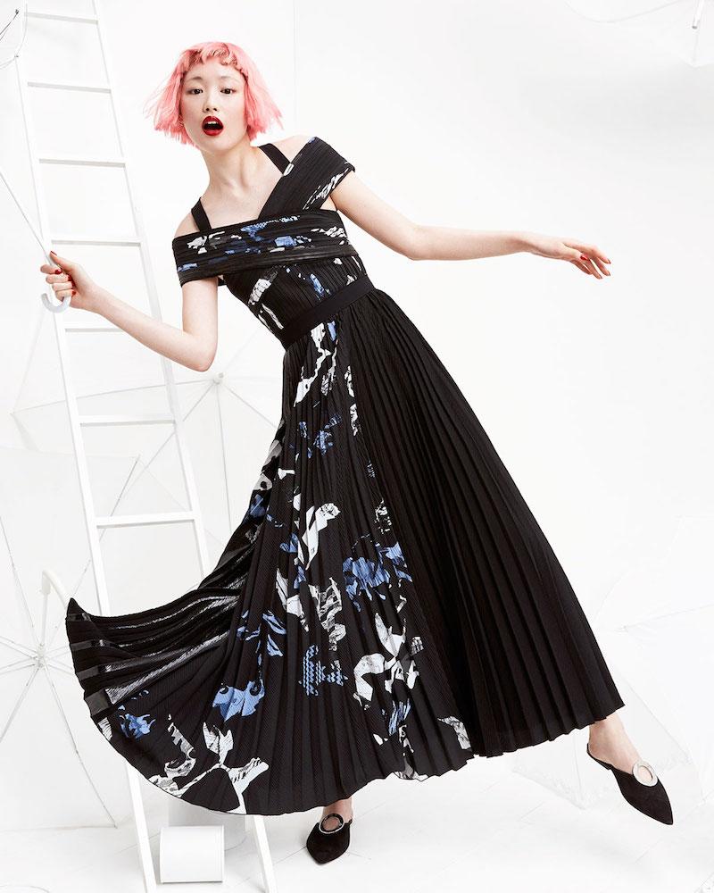 Proenza Schouler Long Pleated Floral-Print Dress