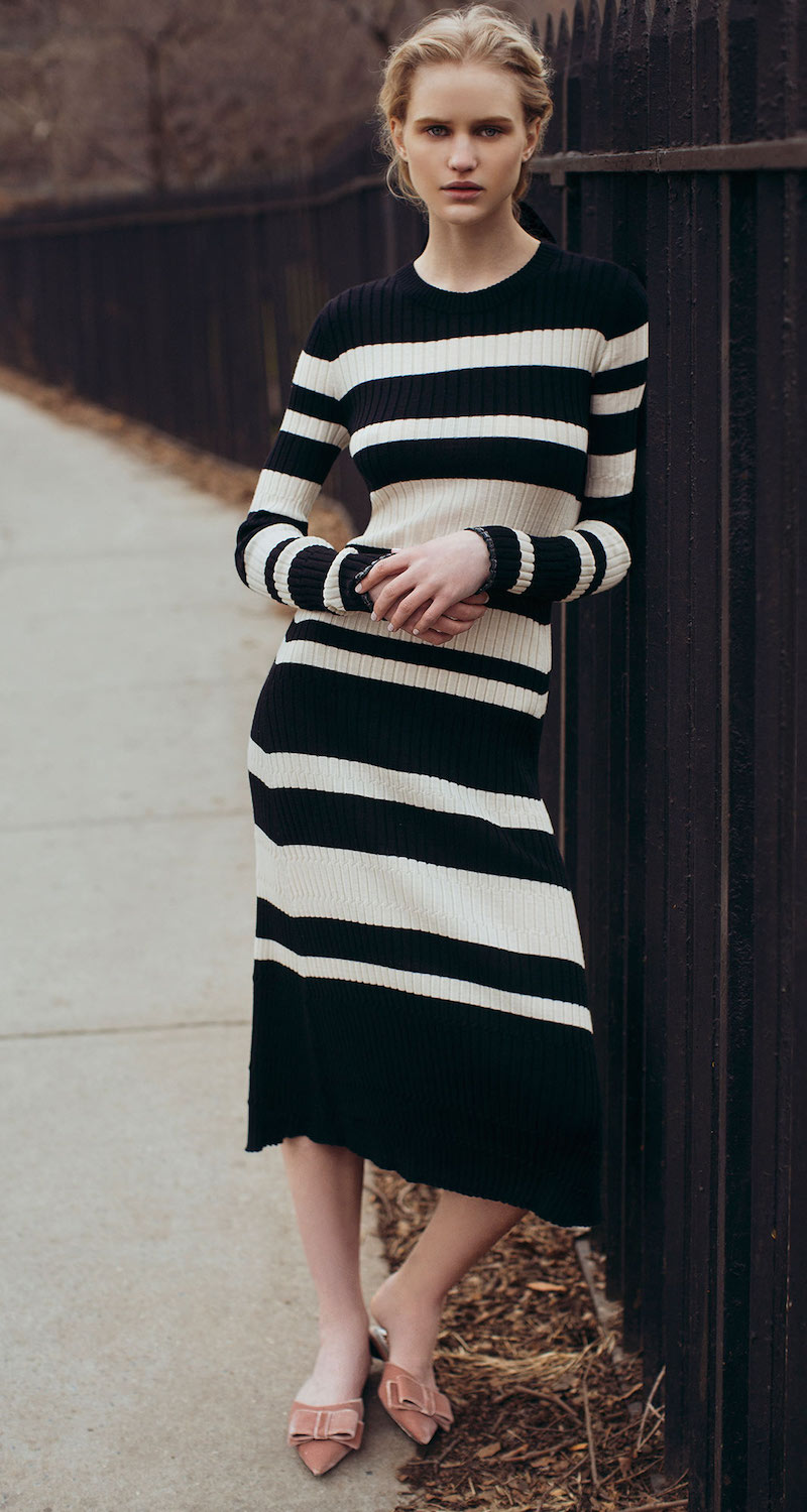Proenza Schouler Striped Wool-Blend Dress