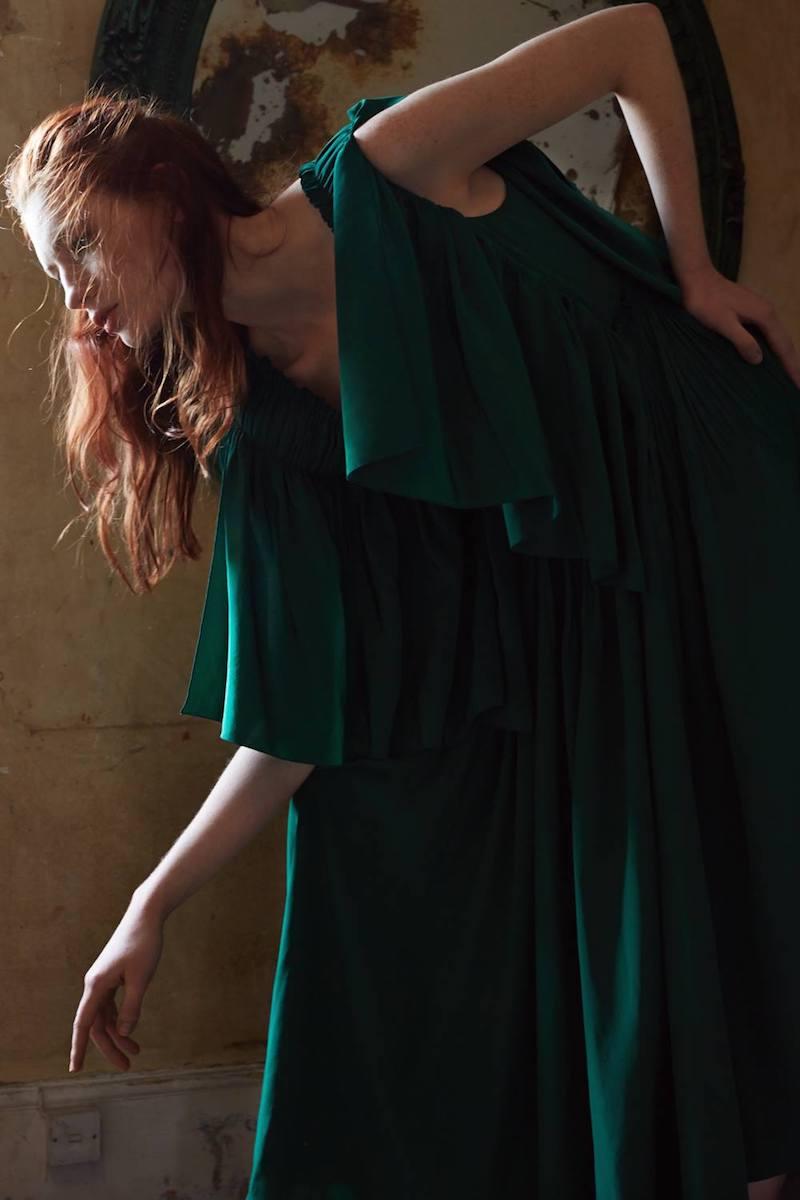 ROCHAS Emerald Green V-Neck Pleated Dress