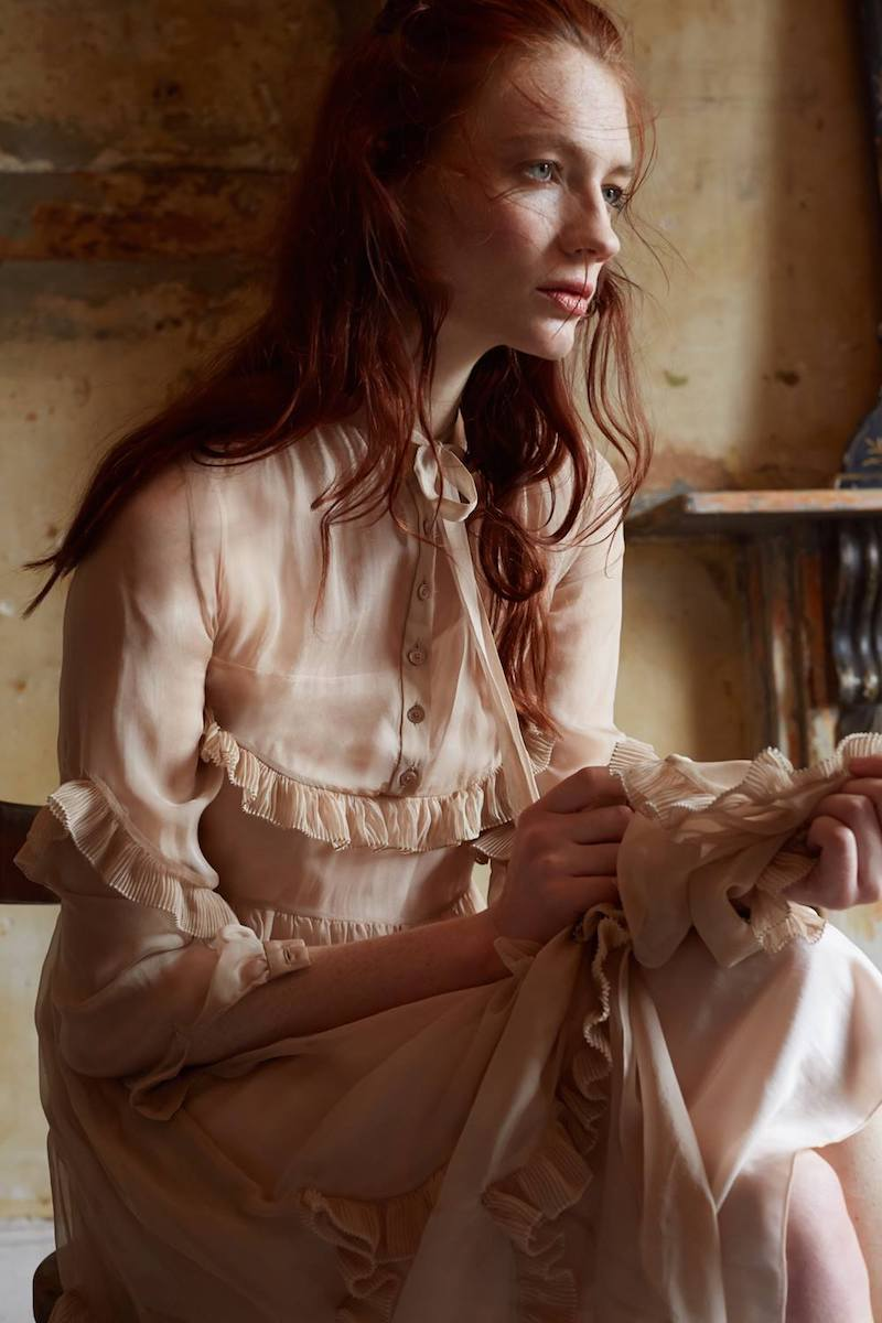 ROCHAS Lilac Silk Pussybow Ruffle Tier Dress