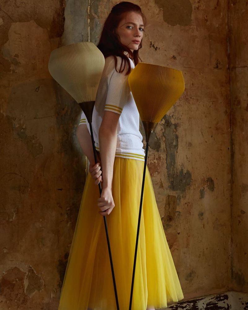 ROCHAS Marigold Yellow Tulle Midi Skirt