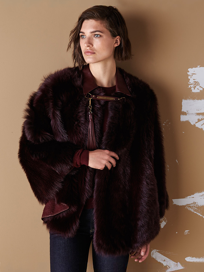 Ralph Lauren Collection Lamb Shearling Fur & Leather Poncho