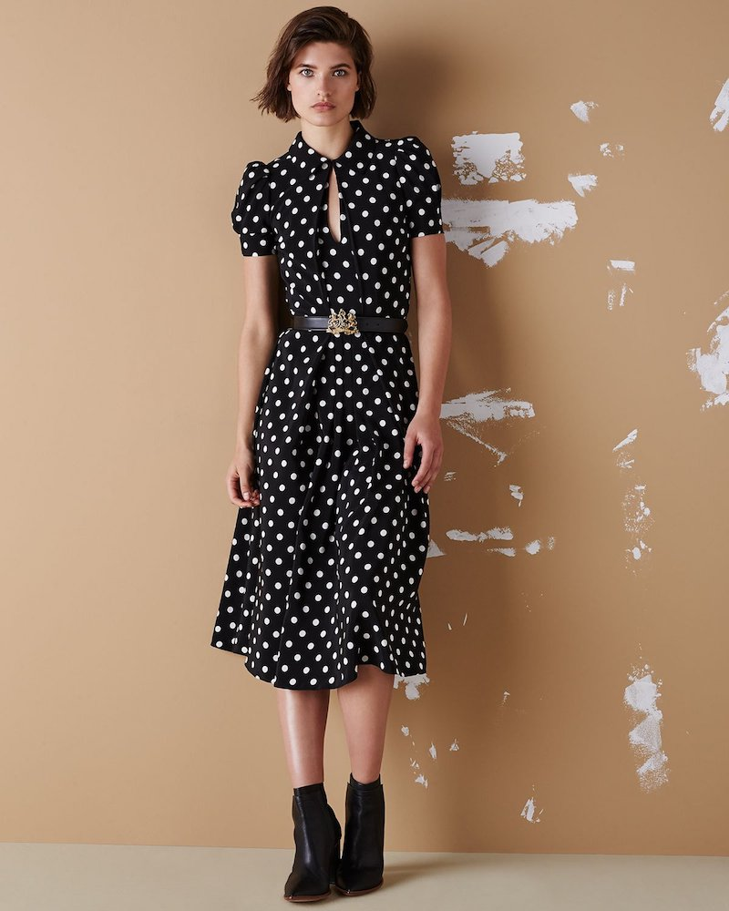 Ralph Lauren Collection Mariella Polka-Dot Short-Sleeve Midi Dress