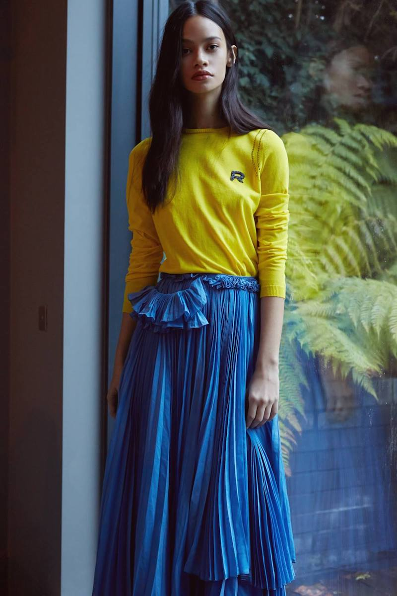 Rochas Cornflower Blue Pleated Detail Skirt