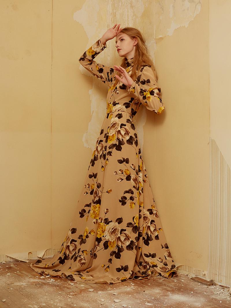 Rochas Print Crepe De Chine Dress with Open Back