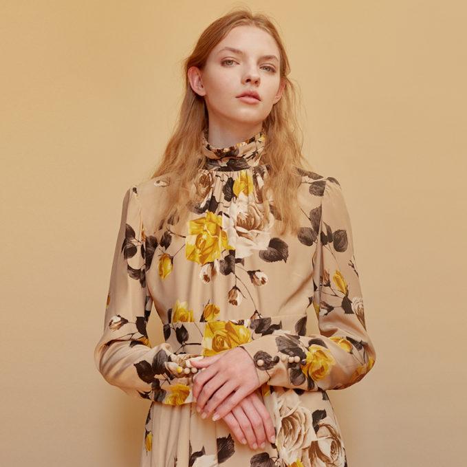 Rochas Print Crepe De Chine Dress with Open Back 1