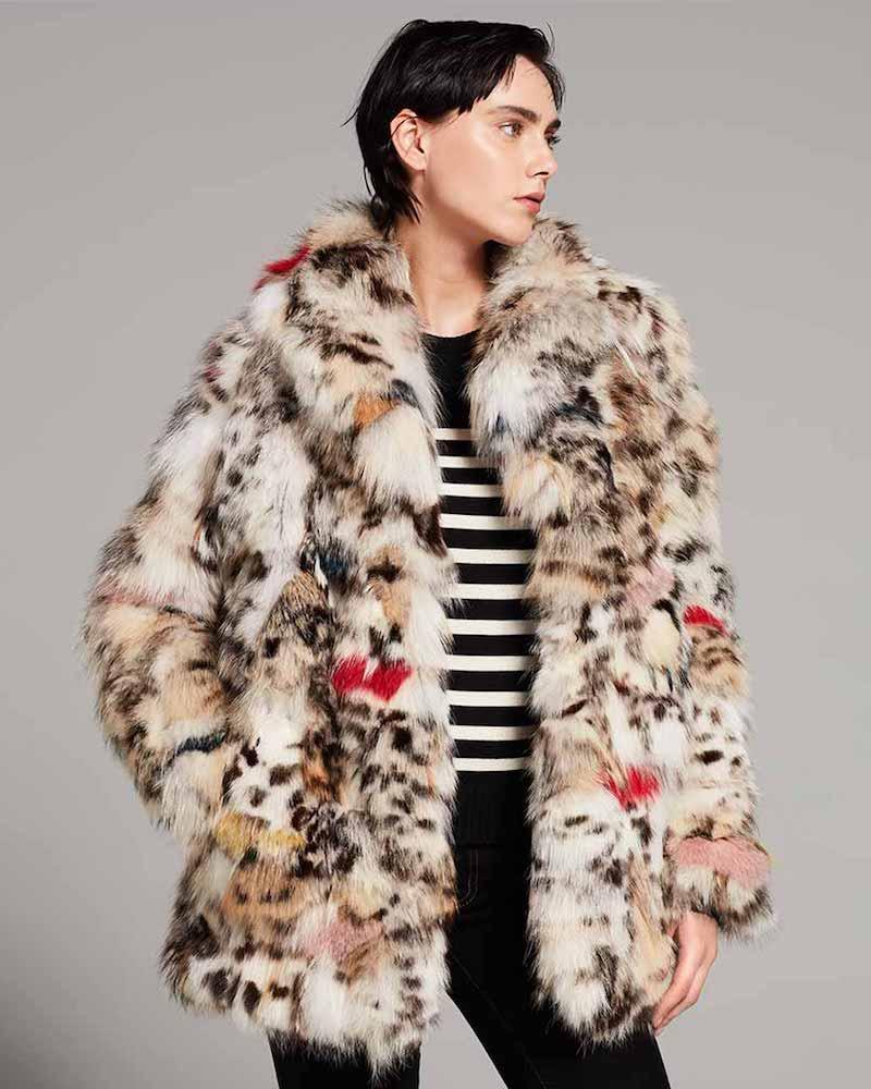 Saint Laurent Color-Splashed Fox Fur Coat