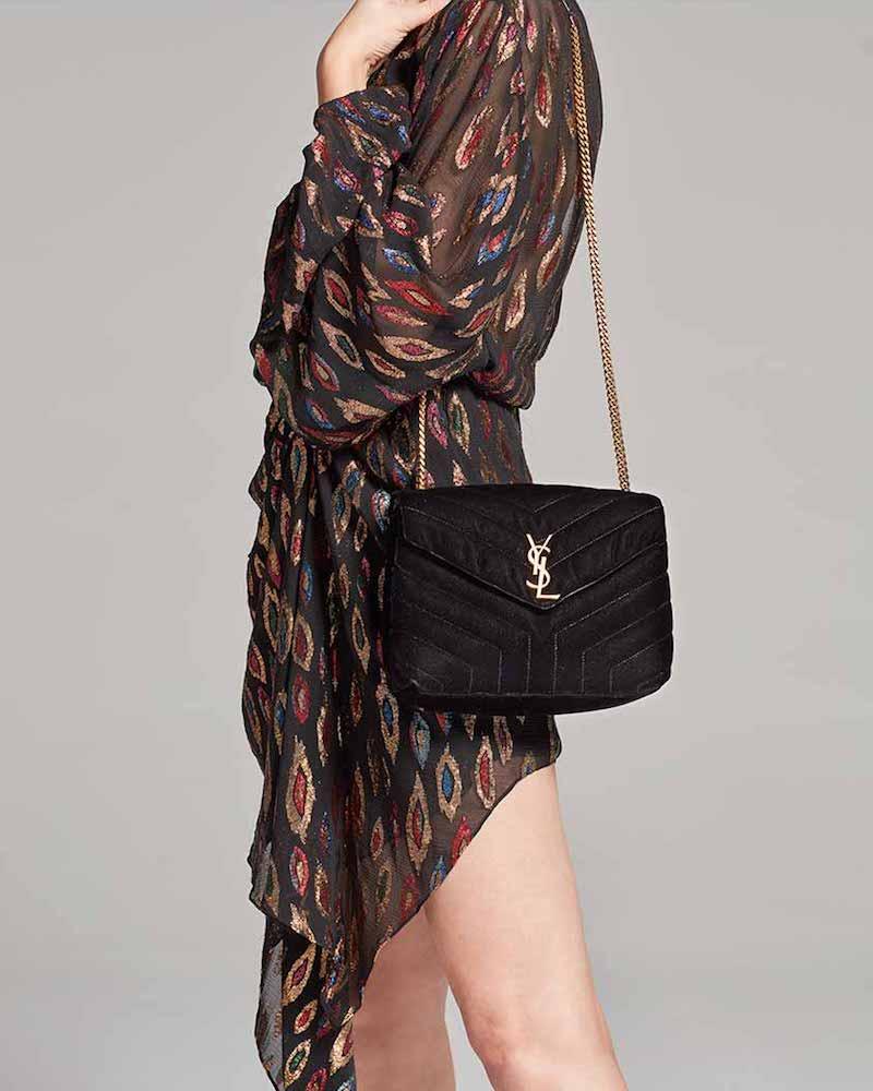 Saint Laurent LouLou Monogram Small Velvet Shoulder Bag in Black