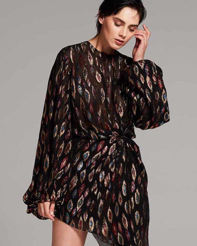 Saint Laurent Peacock-Print Blouson Dress