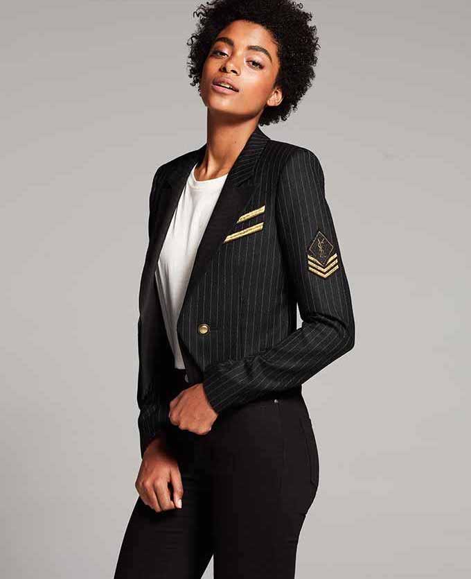 Saint Laurent Pinstriped Wool Jacket