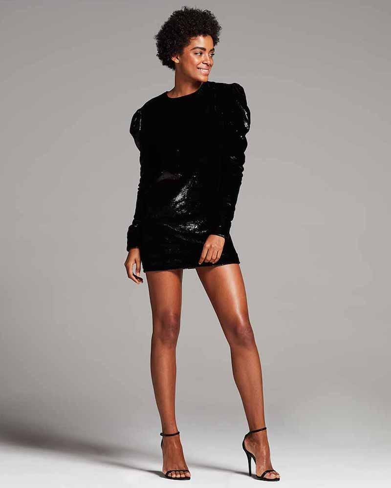 Saint Laurent Ruched Velvet Puff-Sleeve Shift Dress