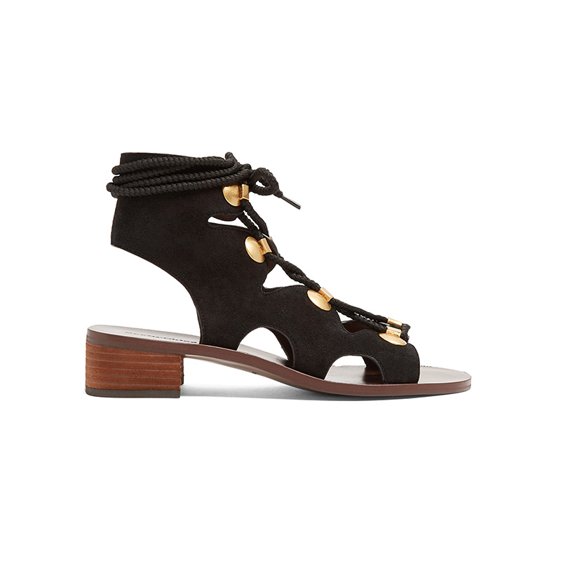 See by Chloé Lace-Up Block-Heel Suede Sandals in Black