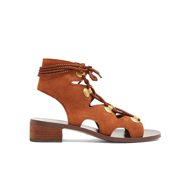 See by Chloé Lace-Up Block-Heel Suede Sandals