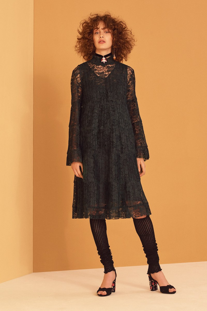 See by Chloé Stand-Collar Lace Dress