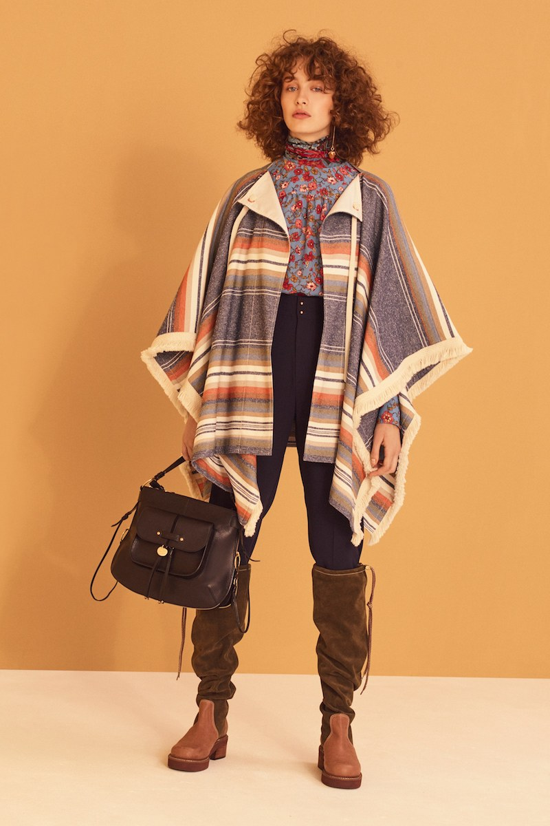 See by Chloé Striped Cotton-Blend Cape