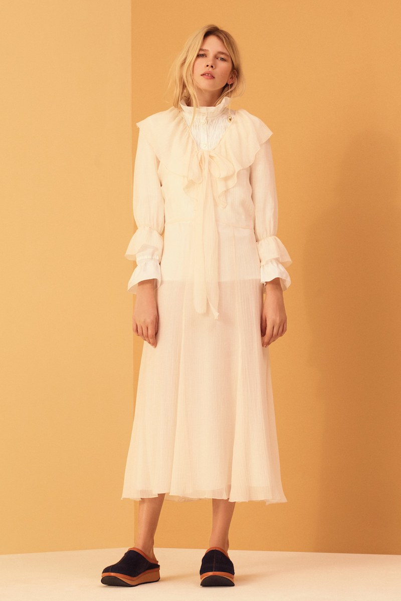 See by Chloé Tie-Neck Ruffled Cotton-Voile Dress