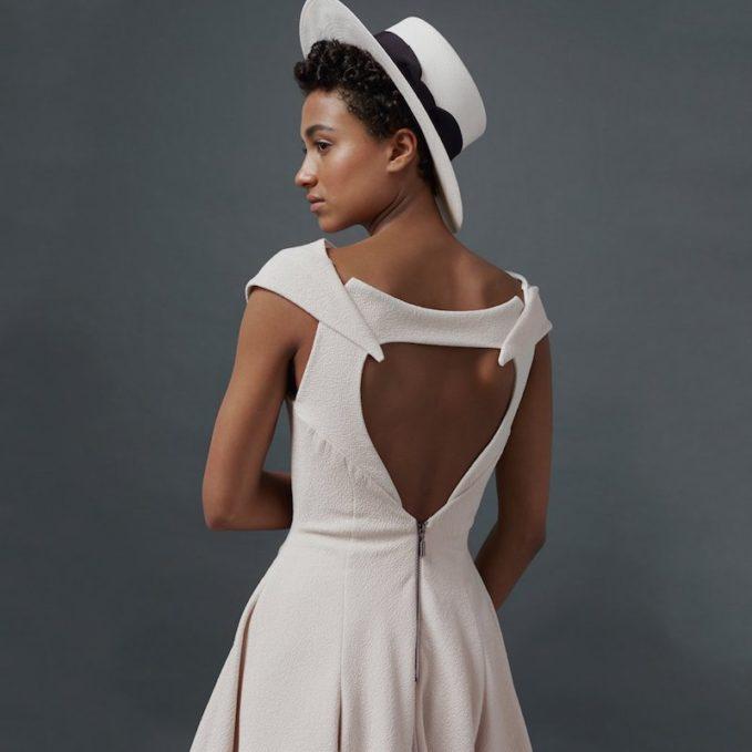 Sensi Studio White Italian Bow Boater Hat