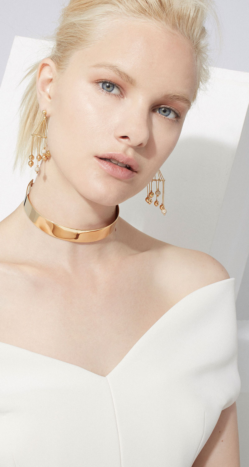 Shay Gold Caged Ball Drop Earrings