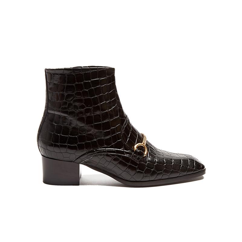 Stella McCartney Crocodile-Effect Faux-Leather Ankle Boots