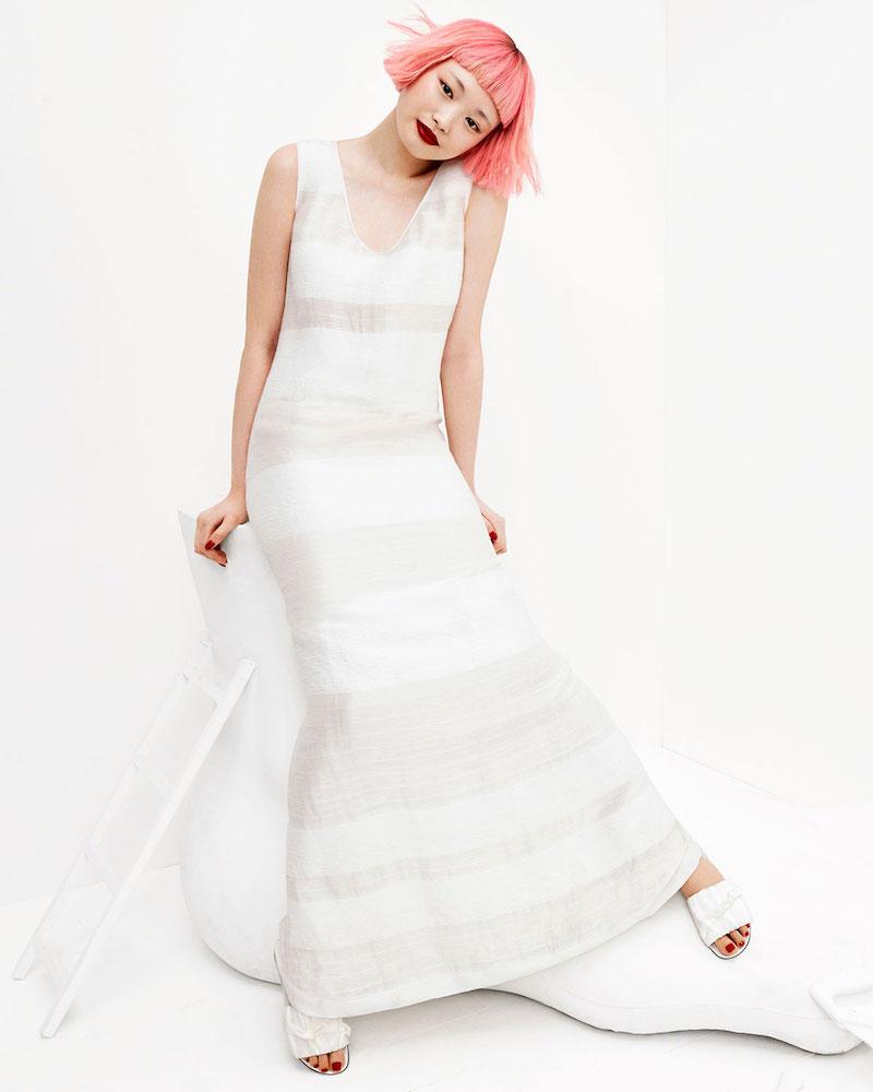 THE ROW Yellin Sleeveless Textured Stripe Linen-Silk Maxi Dress