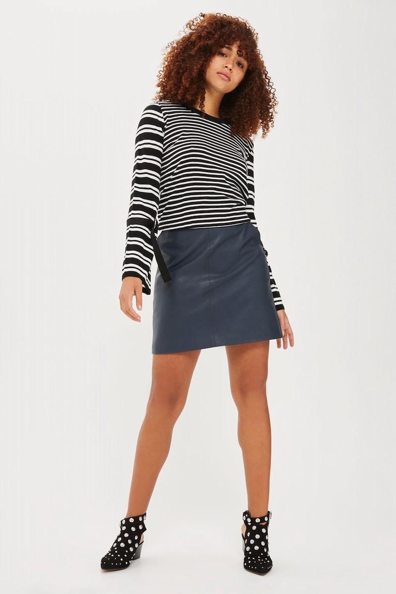 Topshop Buckle Cuff Stripe Sweater