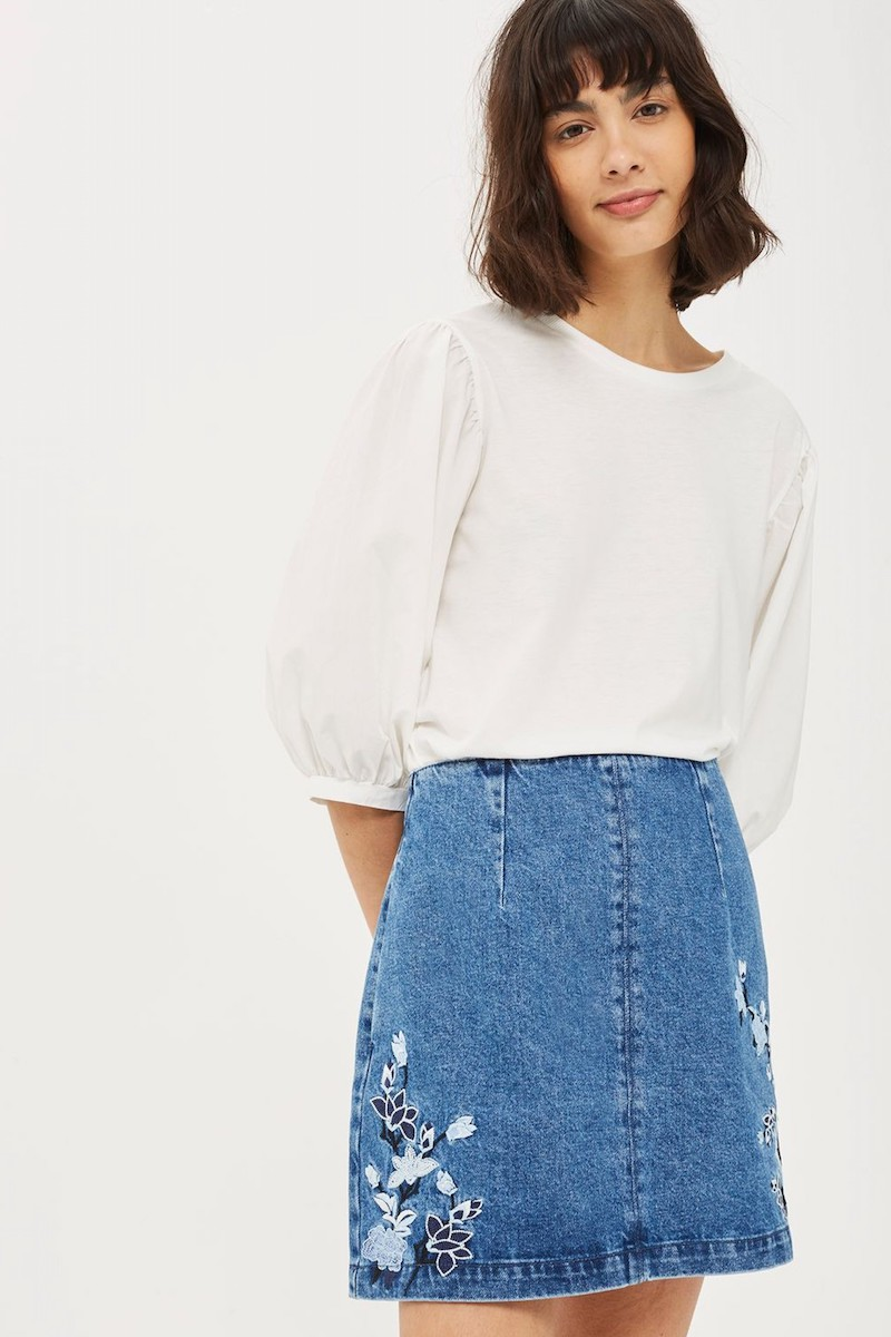 Topshop Embroidered Denim A-Line Skirt