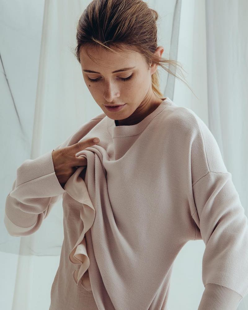 Tibi Easy Pullover in Pale Pink