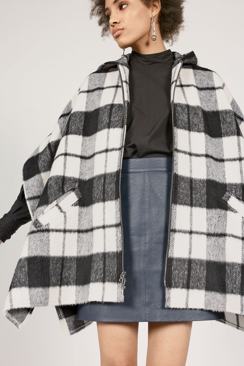 Treasure & Bond Hooded Plaid Cape