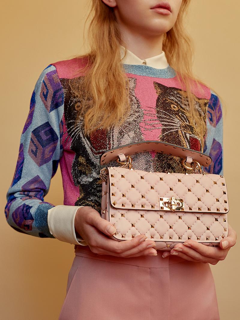 Valentino Medium Spike Suede Shoulder Bag