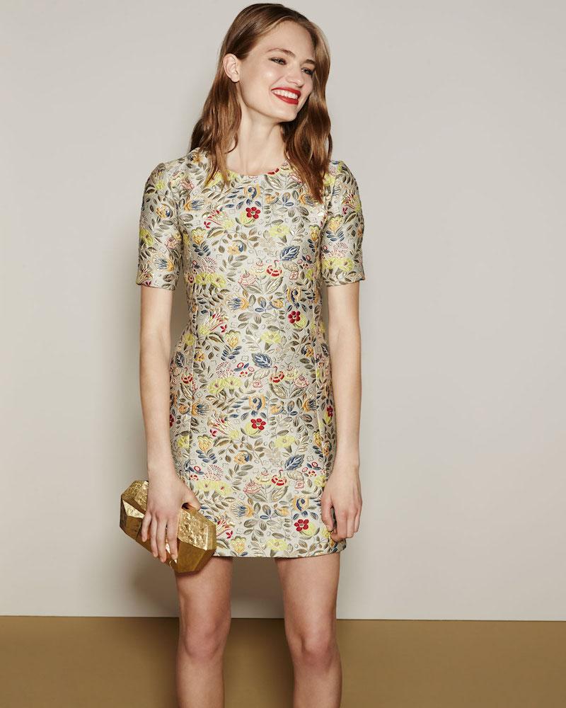 Zac Posen Floral Jacquard Short-Sleeve Cocktail Shift Dress
