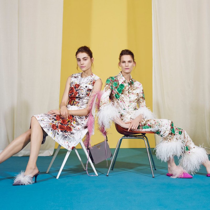 mytheresa.com x Prada Feather-Trimmed Printed Silk Trousers