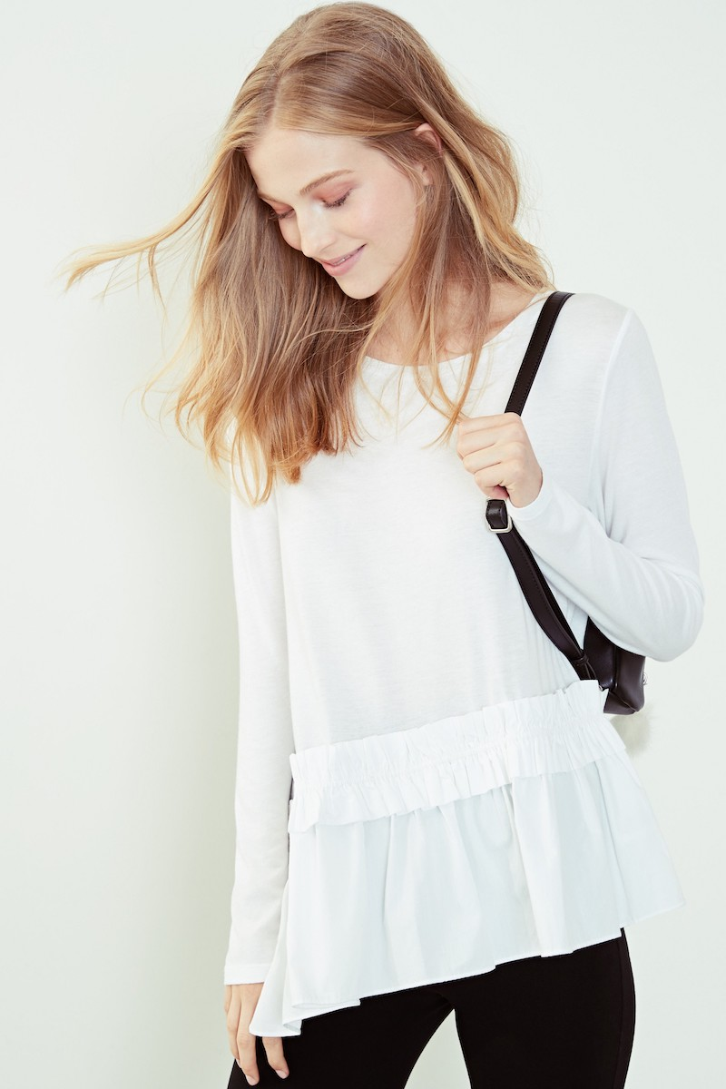 BP. Asymmetrical Ruffle Hem Top