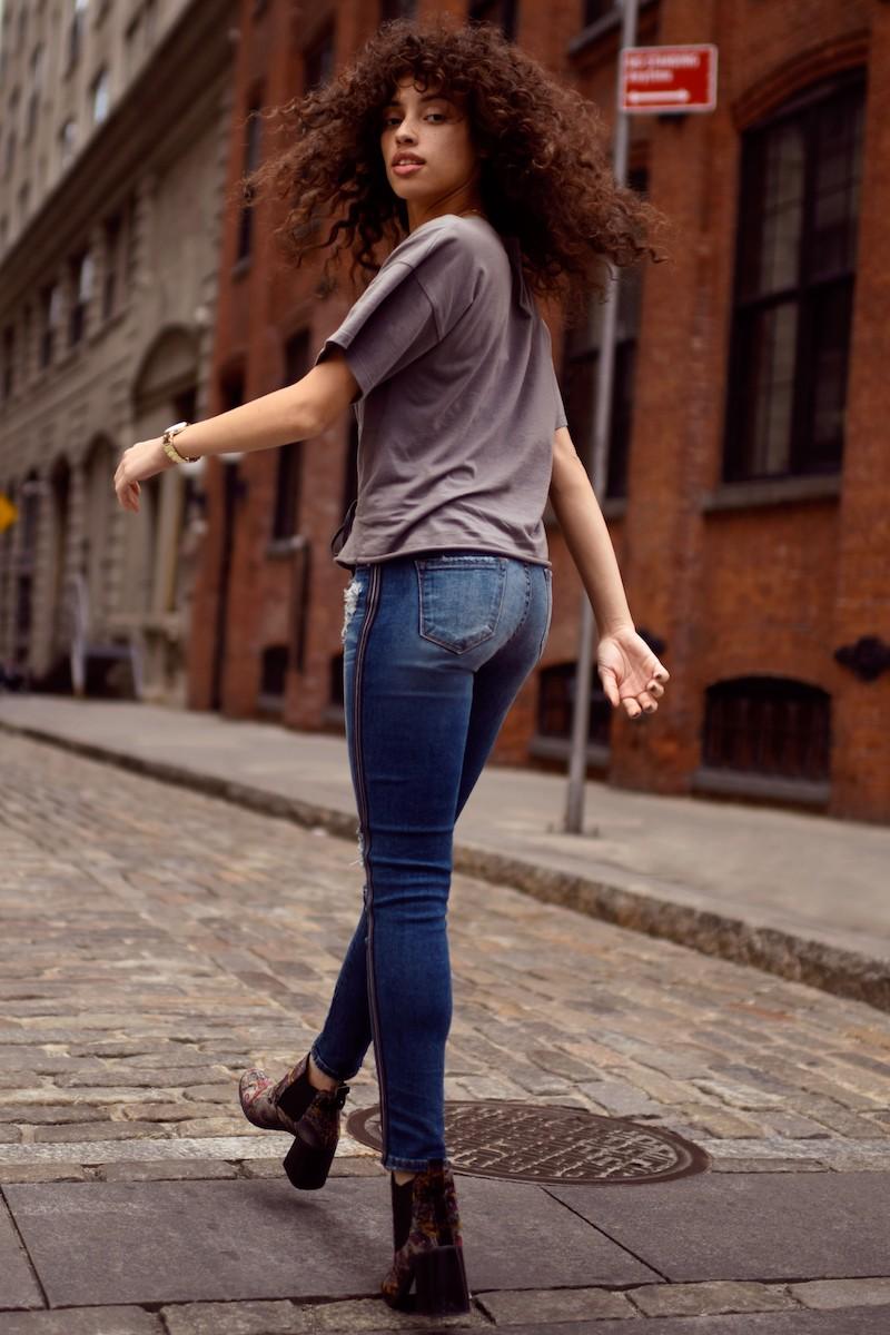 BP. Tuxedo Stripe Ripped Skinny Jeans