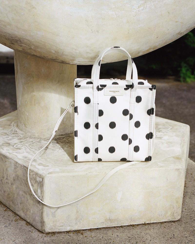 Balenciaga Small Polka Dot Bazar Silk Shopper