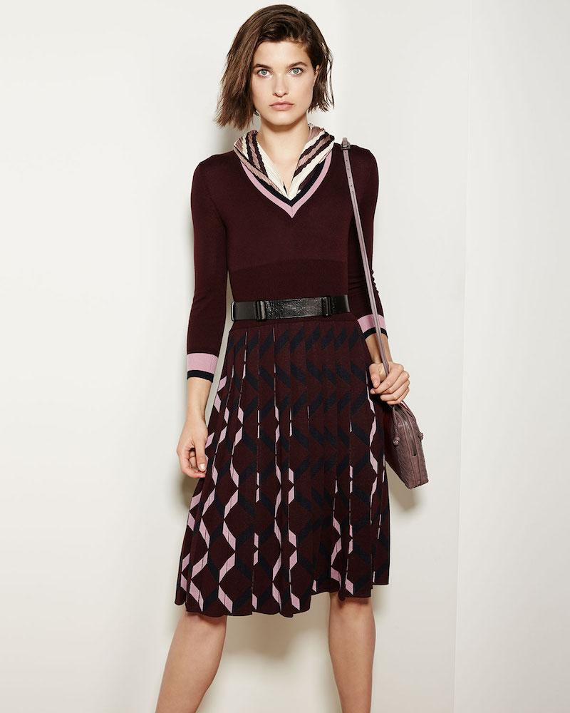 Bottega Veneta 3:4-Sleeve Pleated-Skirt Wool V-Neck Dress
