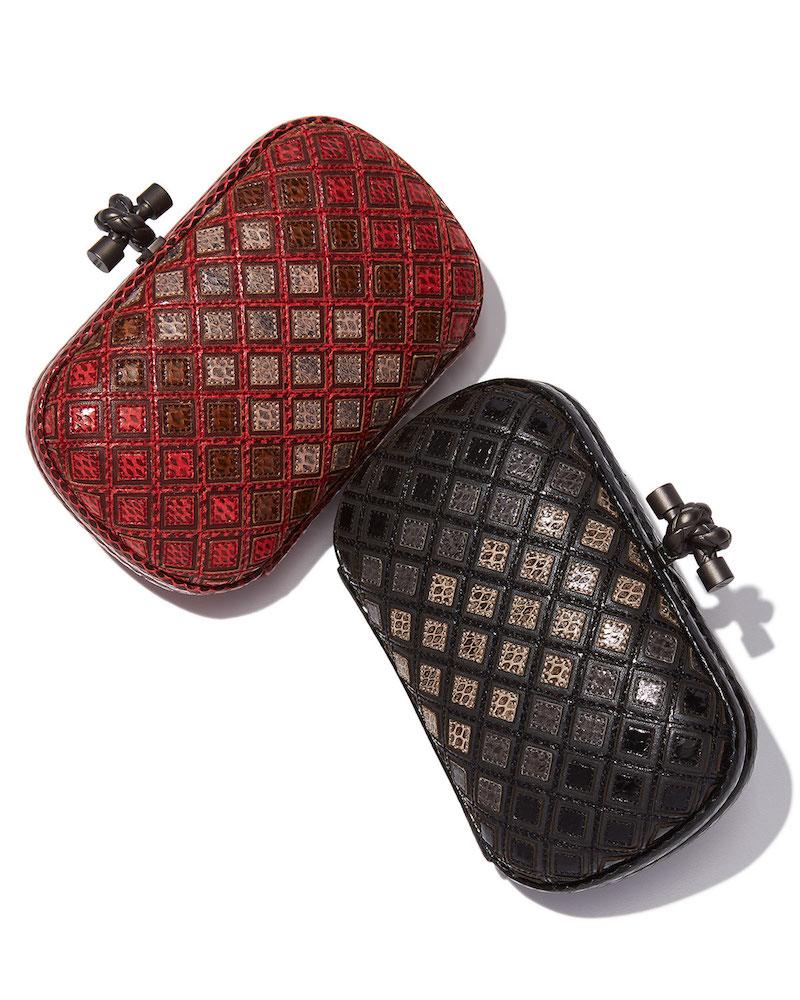 Bottega Veneta Small Knot Snakeskin Box Clutch Bag