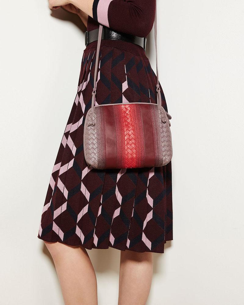 Bottega Veneta Striped Leather Pillow Bag