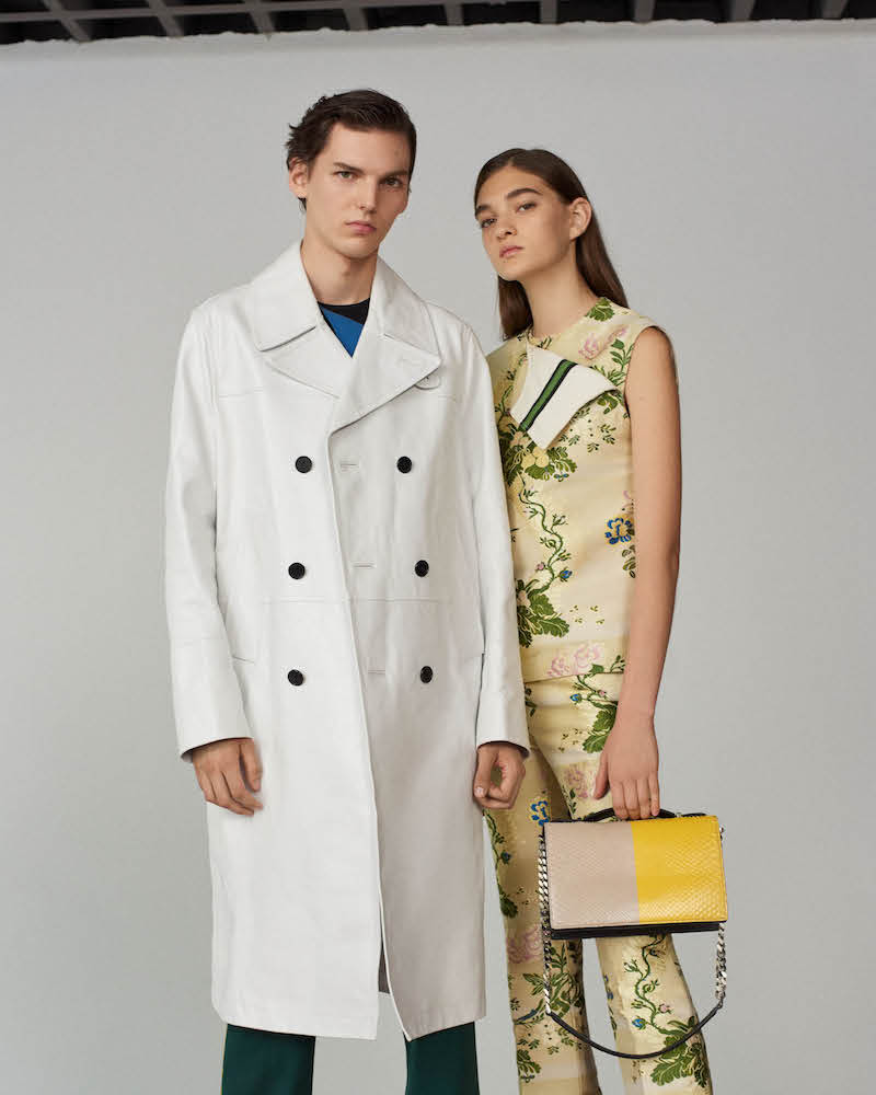 CALVIN KLEIN 205W39NYC Floral Silk-Wool Jacquard Foldover Top