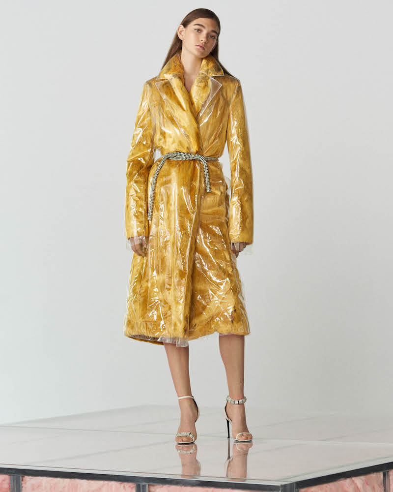 CALVIN KLEIN 205W39NYC Plastic-Layered Faux-Fur Coat