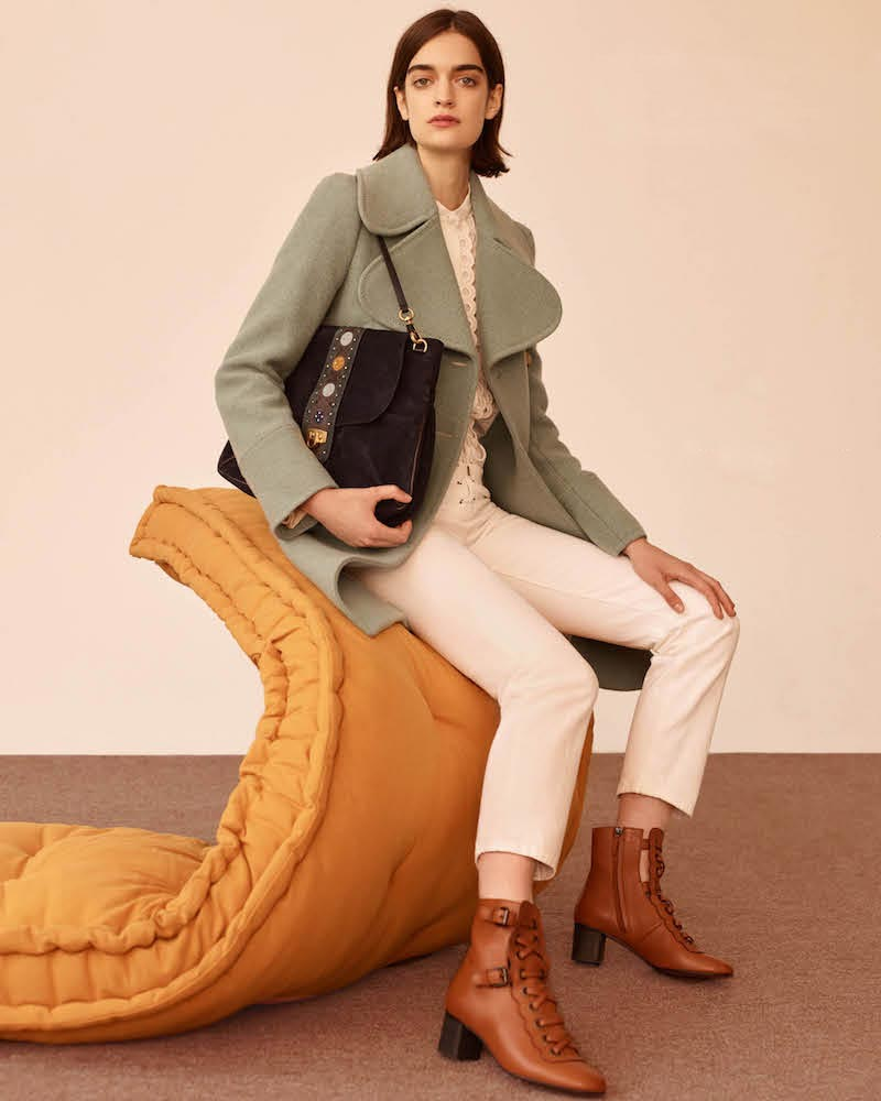 Chloé Brushed Wool Twill Peacoat