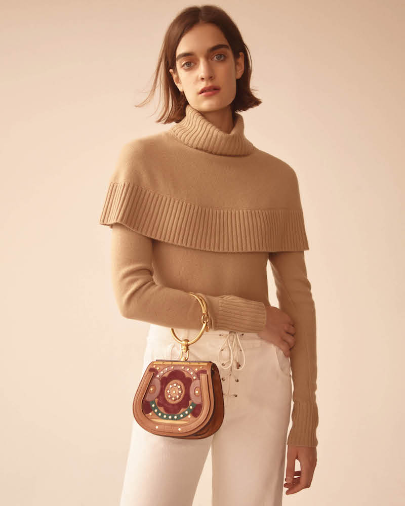 Chloé Cashmere Capelet Turtleneck Sweater