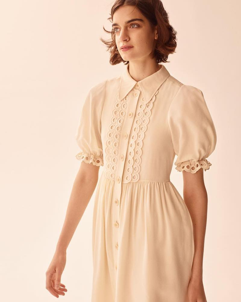 Chloé Eyelet-Trimmed Silk Babydoll Dress