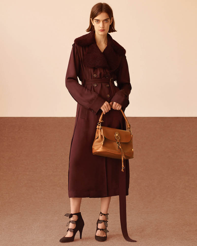 Chloé Shearling-Collar Trench Coat
