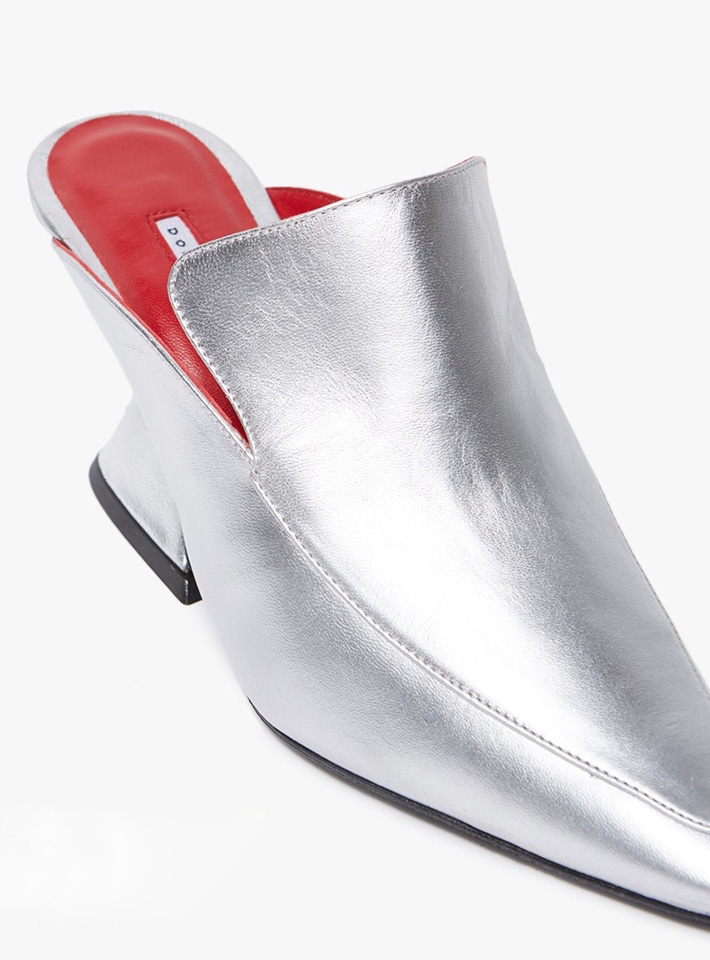 DORATEYMUR Silver Metallic Leather Mule
