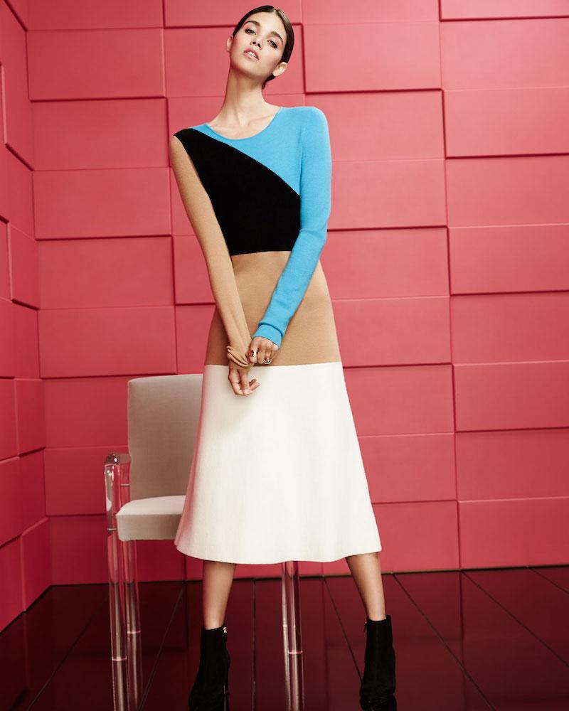 Diane von Furstenberg Crewneck Long-Sleeve Flare Knit Midi Dress