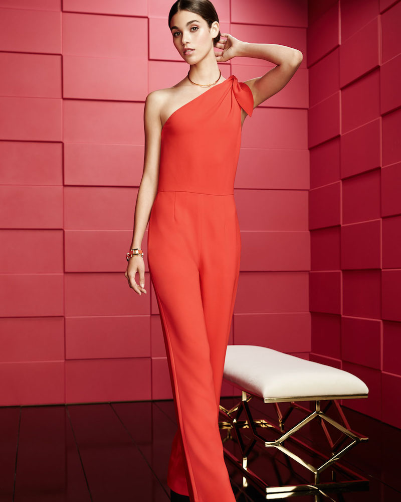 Diane von Furstenberg One-Shoulder Knot Sleeveless Straight-Leg Crepe Jumpsuit