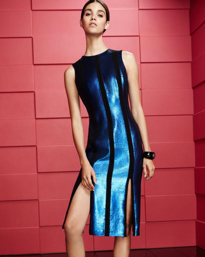 Diane von Furstenberg Sleeveless Tailored Sequin Paneled Dress 1