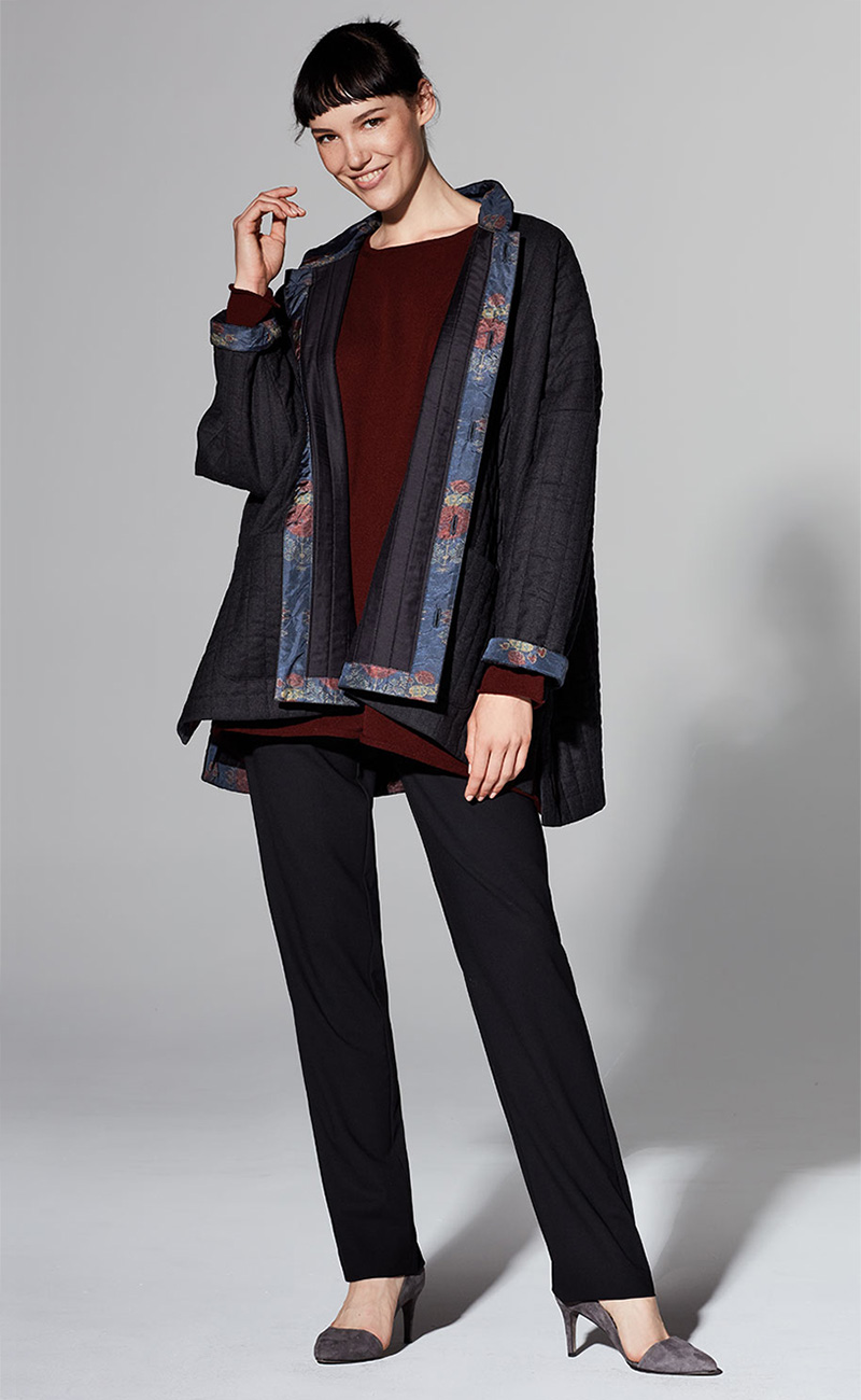 Eskandar Wide Coat With Chinese Collar